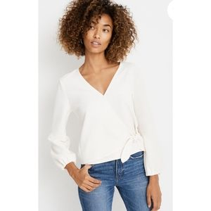 Madewell Texture & Thread Crepe Wrap Top Large NWT